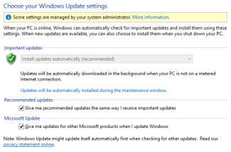 إعدادات Windows Update في Windows 8 في لوحة التحكم