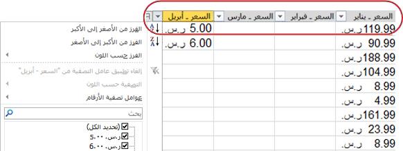 تظهر عوامل التصفية التلقائية في عناوين الأعمدة بجدول Excel