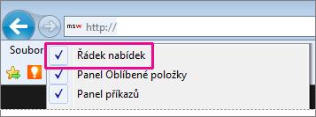 Zobrazení řádku nabídek v aplikaci Internet Explorer