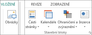 Snímek obrazovky se skupinou Stavební bloky na kartě Vložení v Publisheru