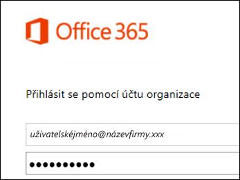 Přihlašovací obrazovka portálu Office 365