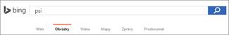 Do pole Hledání obrázků Bingem se zadal dotaz.