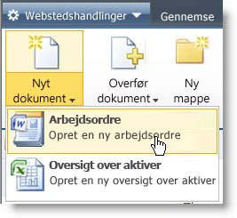 Visning af indholdstyper i menuen Ny for en liste eller et bibliotek.