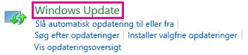 Link til Windows Update i Kontrolpanel i Windows 8