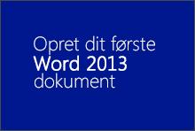 Oprette dit første Word 2013-dokument