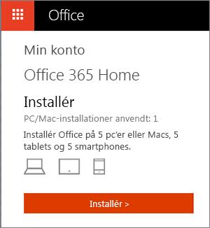 Office Store-siden Mine konti, der viser knappen Installér
