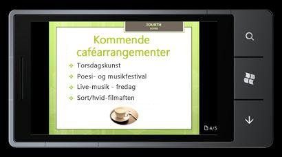 PowerPoint Mobile 2010 til Windows Phone 7: Redigere og få vist fra din telefon