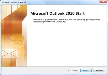Outlook 2010-startvindue
