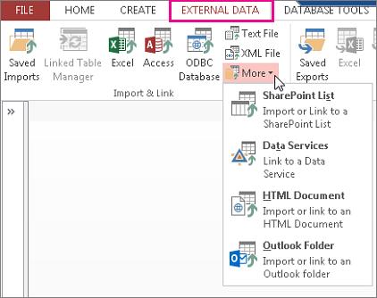Indstillinger under fanen Eksterne data i Access