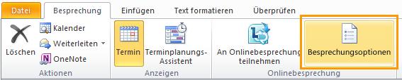 Abbildung des Outlook-Menübands