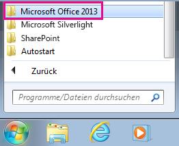 "Gruppe ""Office 2013"" unter ""Alle Programme"" in Windows 7"