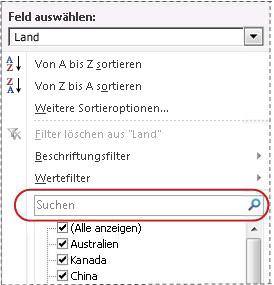 Suchfeld in Filterliste