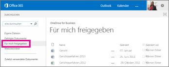"""Screenshots von Dokumenten, die andere Personen für Sie freigegeben haben, werden in der Ansicht """"Für mich freigegeben"""" in OneDrive for Business aufgeführt."""