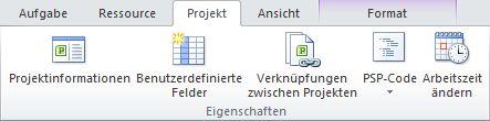 Gruppe 'Eigenschaften' auf der Registerkarte 'Projekt'