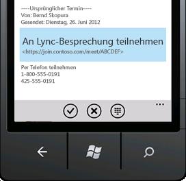 Screenshot zur Aufforderung 'An Lync-Besprechung teilnehmen' auf einem Mobilgerät