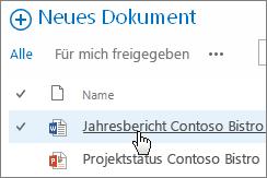 Auf ein Dokument klicken, damit es geöffnet wird