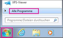 """Suchen nach Office-Apps in Windows 7 über """"Alle Programme"""""""
