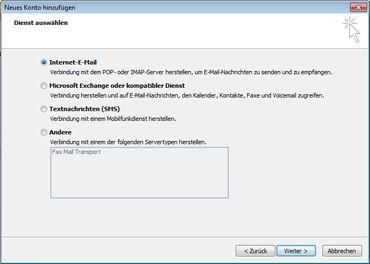 Im Dialogfeld 'Neues Konto hinzufügen' die Option 'Server' auswählen