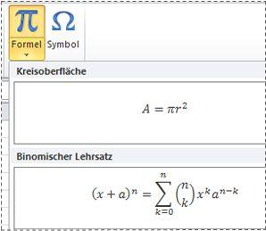 Vorformatierte Formeln in der Liste 'Formel'