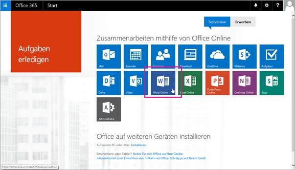 Auswählen einer Office Online-App