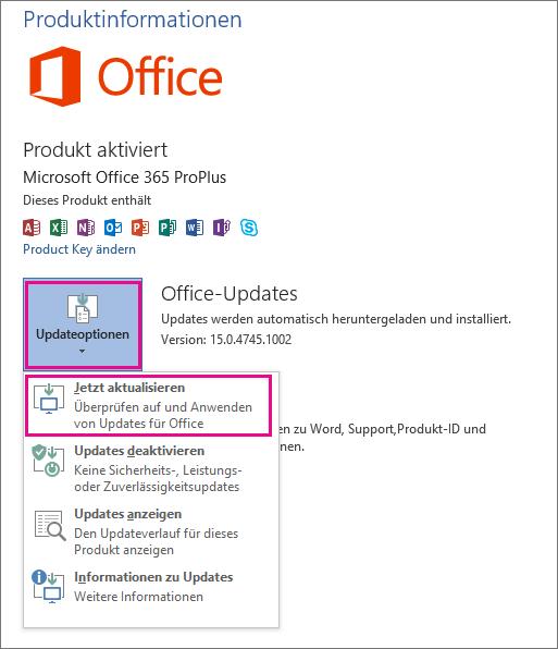 Manuelles Überprüfen auf Office-Updates in Word 2013