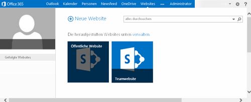 """Ausgewählte Kachel """"Öffentliche Website"""""""