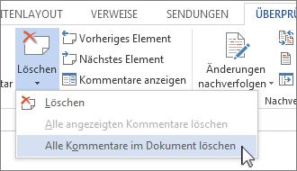 Befehl 'Alle Kommentare im Dokument löschen' im Menü 'Kommentare löschen'