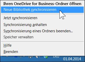 OneDrive for Business-Menü im Windows-Benachrichtigungsbereich