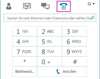 Screenshot des Telefonsymbols mit Darstellung der Wähltastatur, die für Anrufe verwendet werden kann