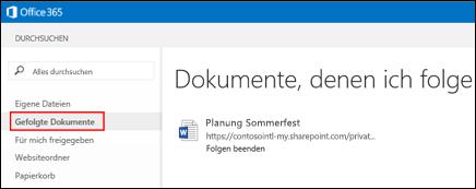 Screenshot der OneDrive for Business-Dokumente, den Sie in Office 365 folgen