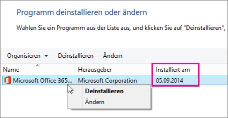 """In der Spalte """"Installiert am"""" kann die zu deinstallierende Office-Version ermittelt werden"""