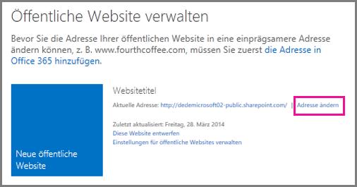 """Seite """"Öffentliche Website verwalten"""" mit dem Link """"Adresse ändern"""""""