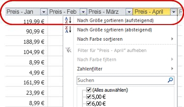 In Spaltenüberschriften einer Excel-Tabelle angezeigte AutoFilter
