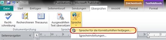 Publisher-Menüband, Schaltfläche 'Sprache'