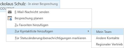 Screenshot mit ausgewählten Menübefehlen 'Zur Kontaktliste hinzufügen' und 'Mein Team'