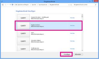 Hinzufügen einer Eingabemethode in Windows 8