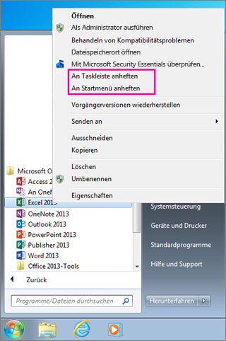 Office-App in Windows 7 an das Startmenü oder die Taskleiste anheften