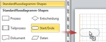 Ziehen eines Anfangs-/Ende-Shapes auf das Zeichenblatt