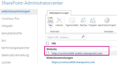 """Öffentliche Website im SharePoint Admin Center unter """"Websitesammlungen"""""""