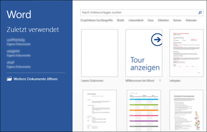 Word-Startbildschirm