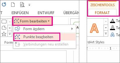 Befehl 'Punkte bearbeiten', auf den über 'Formen bearbeiten' (Registerkarte 'Zeichentools' – 'Format') zugegriffen wird