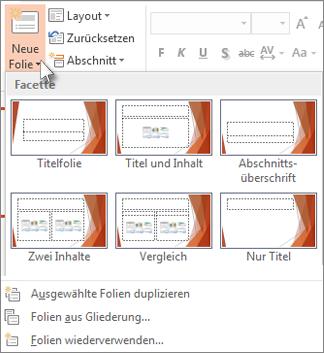 'Neue Folienlayouts' in PowerPoint