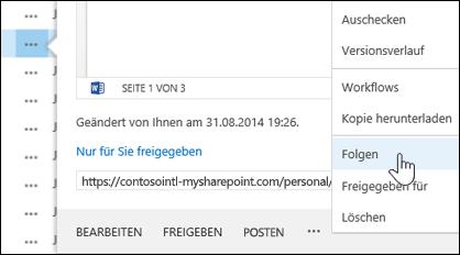 """Wählen Sie im Hoverkartenmenü in OneDrive for Business den Befehl """"Folgen"""" aus, um einem Dokument zu folgen."""