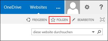 """Folgen Sie einer SharePoint Online-Website, und fügen Sie den Link zu Ihrer Seite """"Websites"""" in Office 365 hinzu."""