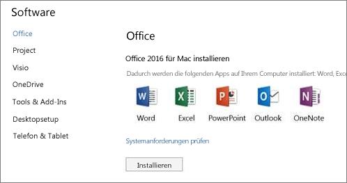 """Der Bildschirm """"Office 365-Einstellungen"""" bei der Softwareinstallation auf einem Mac"""