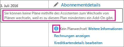 Anzeigen der Nachricht in Office 365 Business, dass keine Pläne zum Wechseln vorhanden sind