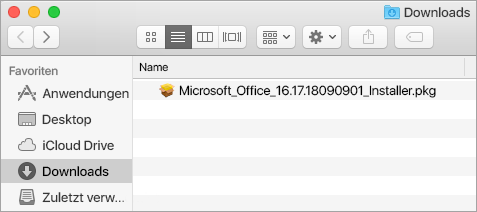 "Das Symbol ""Downloads"" im Dock zeigt das Office 365-Installationspaket."
