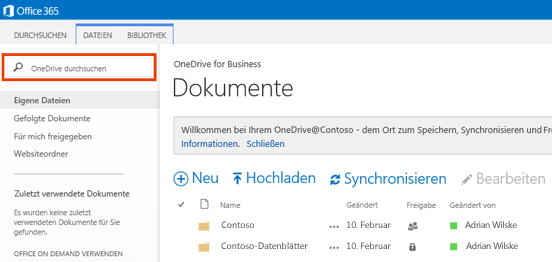 """Screenshot des Felds """"OneDrive-Abfrage"""" in Office 365"""