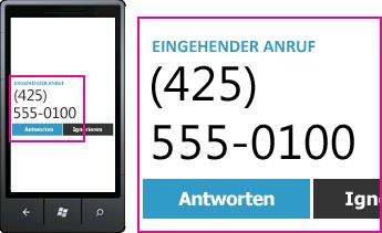 Screenshot der Rufnummer für einen eingehenden Anruf und der Schaltfläche zum Annehmen im Lync-Client für Mobilgeräte