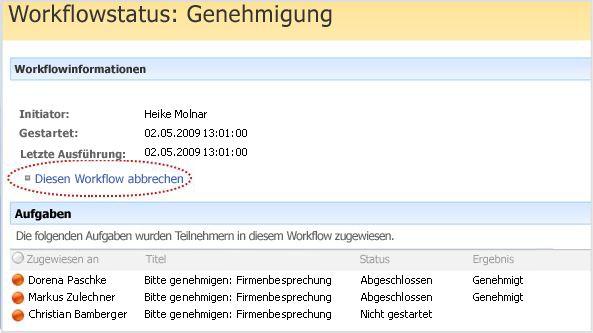 Seite 'Workflowstatus' mit markiertem Hyperlink 'Diesen Workflow abbrechen'
